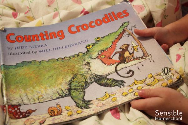 Counting Crocodiles book in preschooler's hands