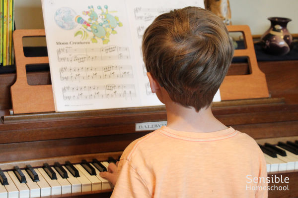 3rd grade student practicing piano