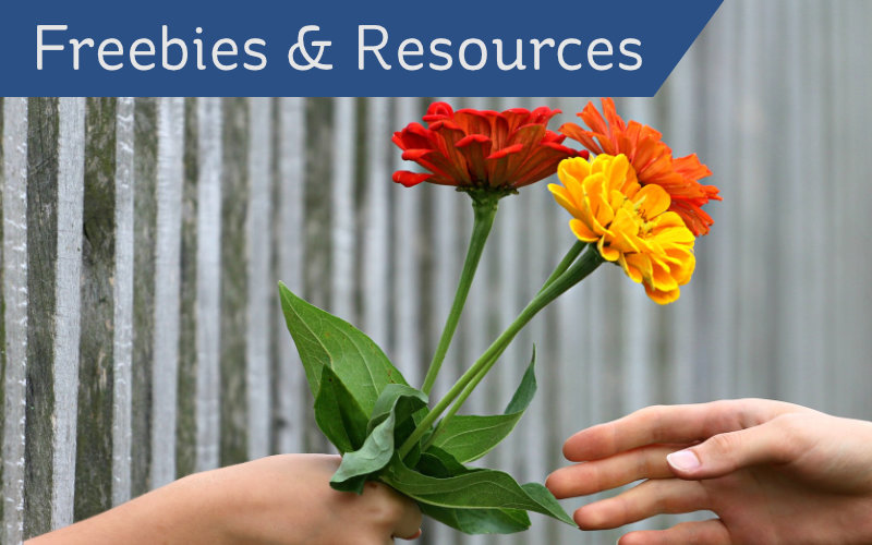 Freebies & Resources header - hand giving flowers