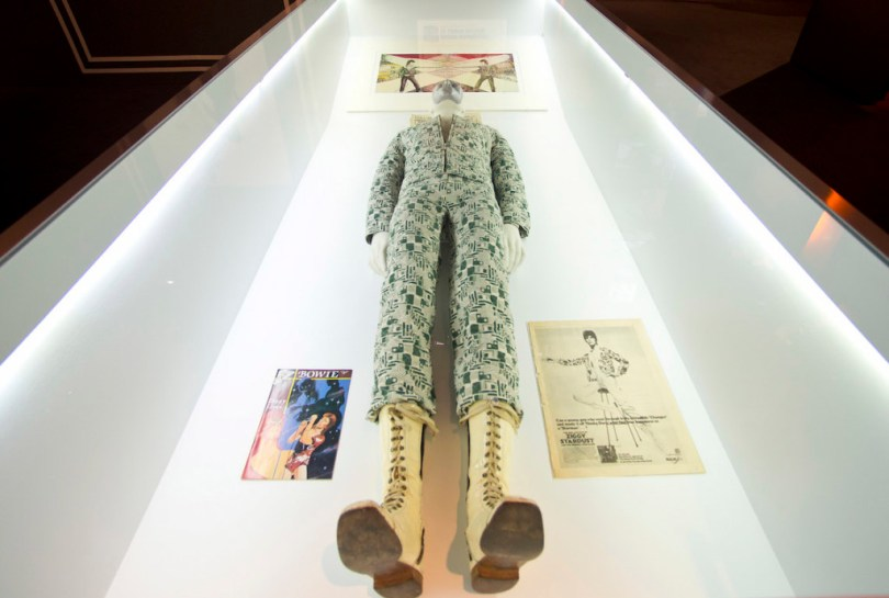 LONDON, ENGLAND - MARCH 20: One of David Bowies' costumes is displayed at the 'David Bowie Is' exhibition at the Victoria & Albert Museum on March 20, 2013 in London, England. (Photo by Ben A. Pruchnie/Getty Images)