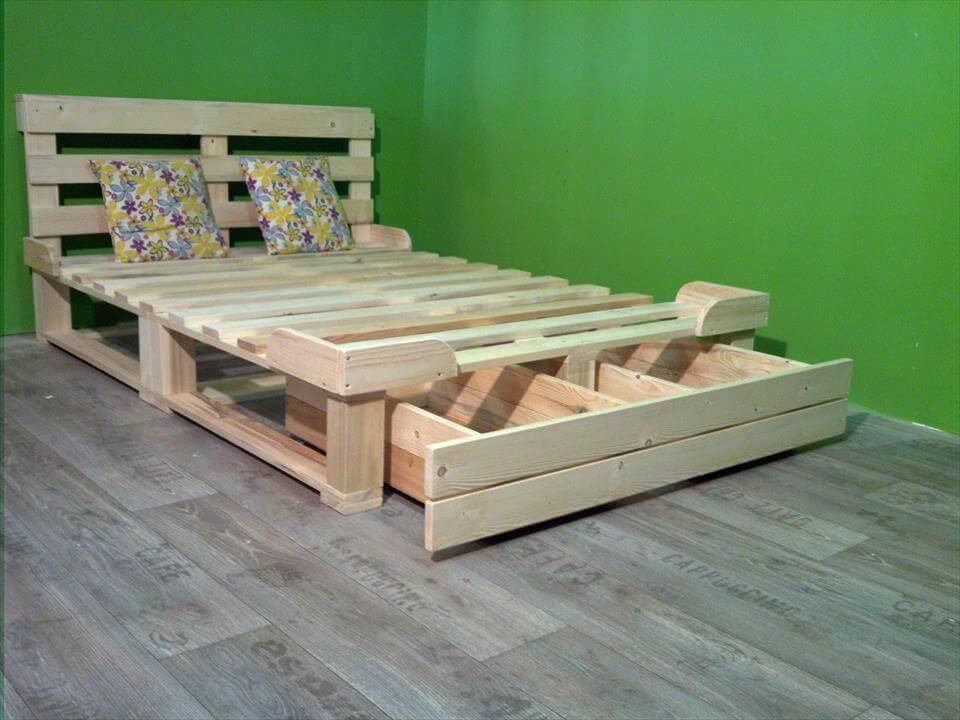 10 Easy DIY Wooden Pallets Bed Frame Ideas For Home - Sensod on Bed Pallet Design  id=13135