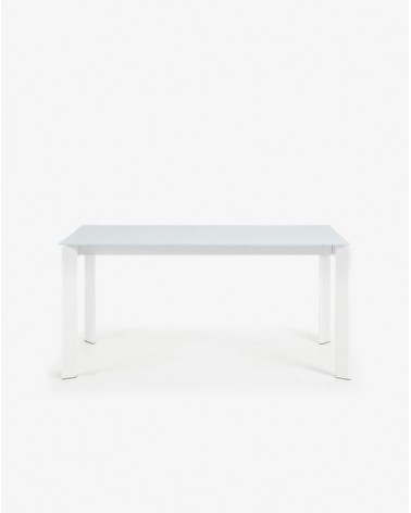 extendable table axis 160 220 cm white glass whi