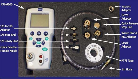 Contents included with LevCal Submersible Hydrostatic Liquid Level Sensor Calibration Kit