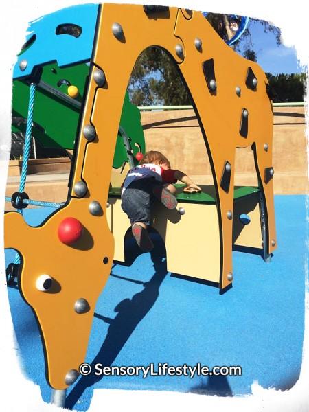 Magical Bridge Playground - Tot Zone, Josh climbing