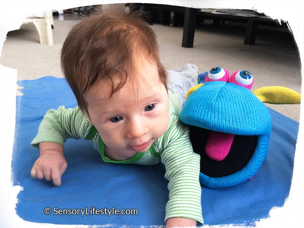 Tummy time with a puppet