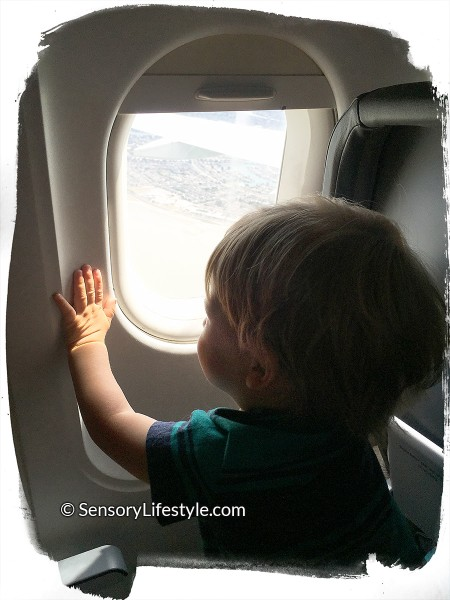 Looking out the plane