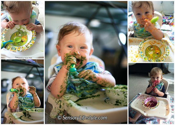 Food play at 10 months