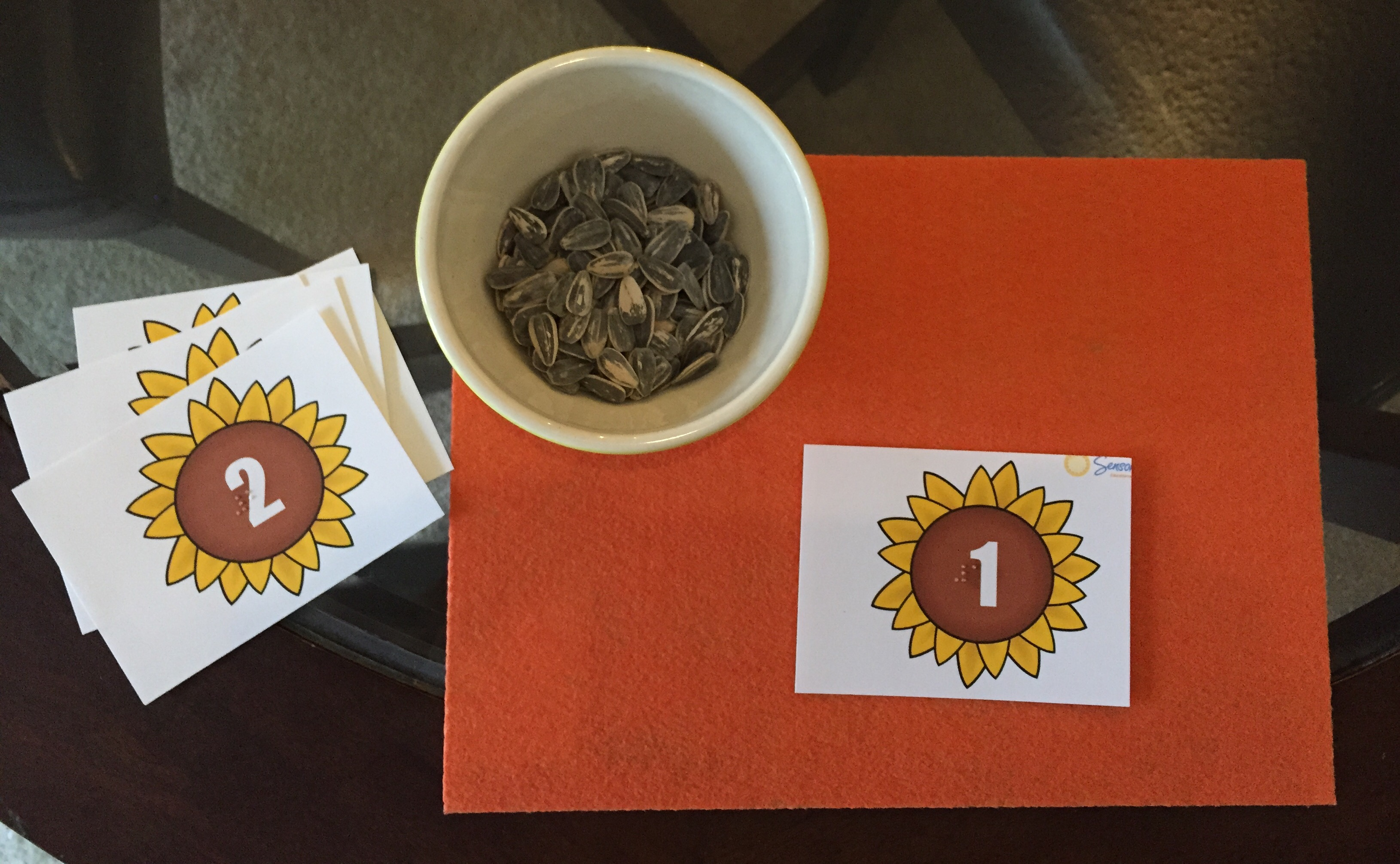 sunflower seeds counting game on orange mat