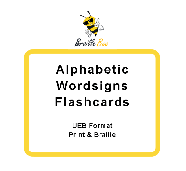 UEB Braille Flashcards Alphabetic Wordsigns with braille bee icon