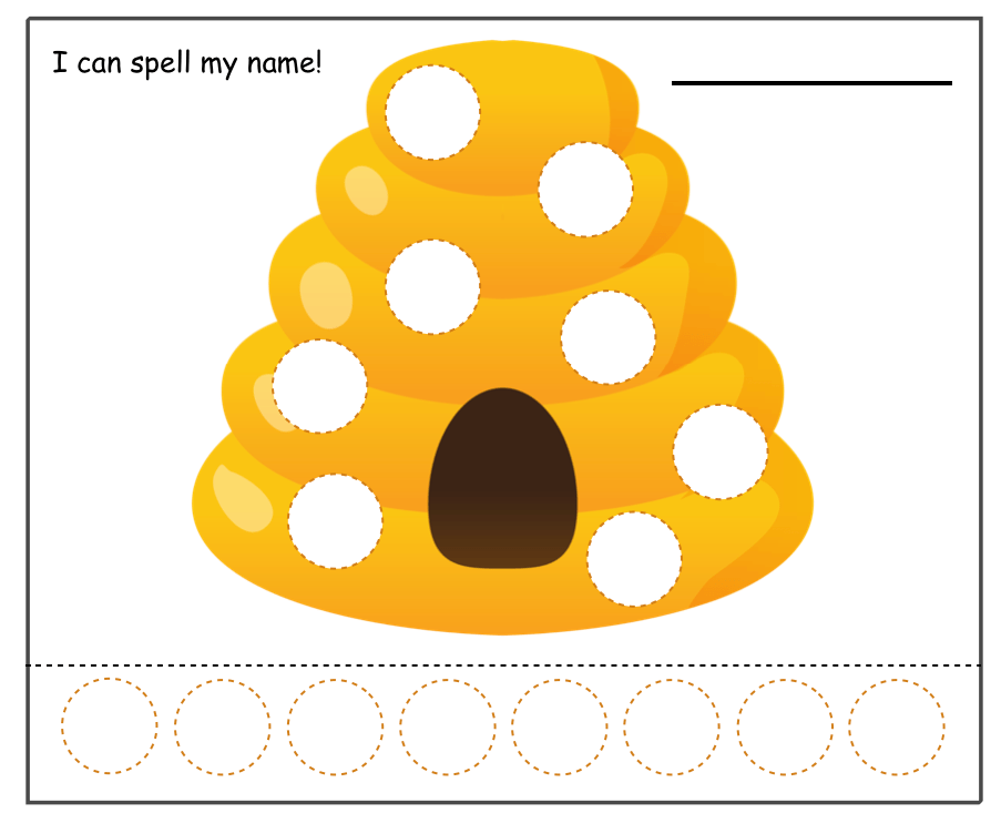image about Beehive Printable identified as Bee Topic Reputation Activity with Braille Print Sensory Sunshine