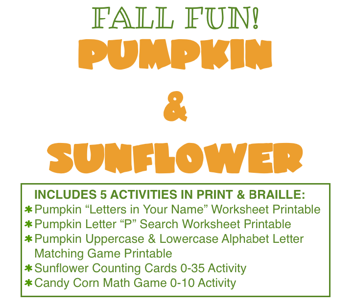 Fall Literacy Worksheets Bundle with Braille and Print – Braille Worksheets