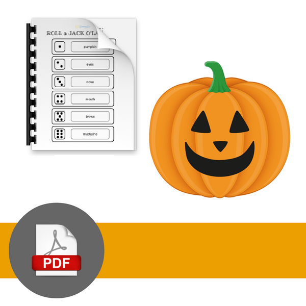 PDF download symbol with jack o'lantern