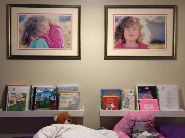 braille books on shelves above the side of a bed. two large pictures hang above them.