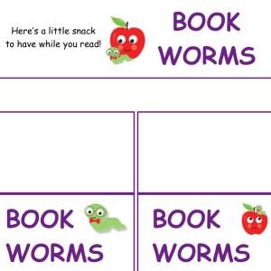 tags with Book Worms and apple graphic