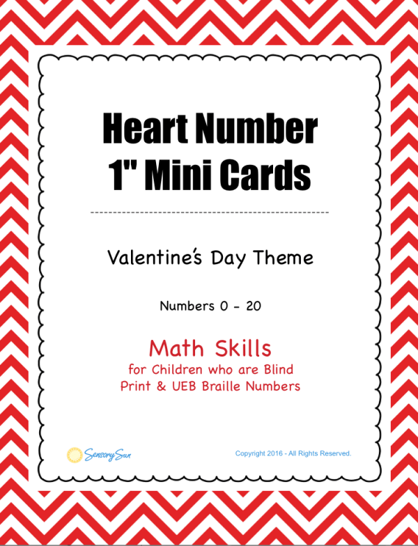Heart Braille Number Cards 0-20 for math activities