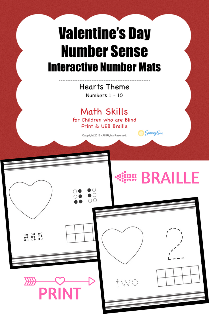 Valentine's Day Number Mats with Print and Braille Heart Themed