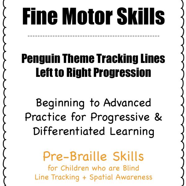 fine motor skills practice for line tracking pre-braille skills