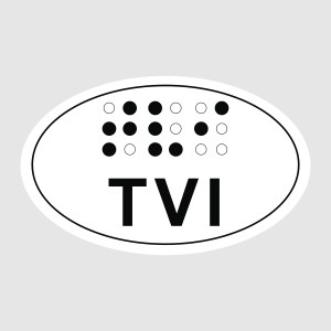 TVI in print and sim braille on oval sticker