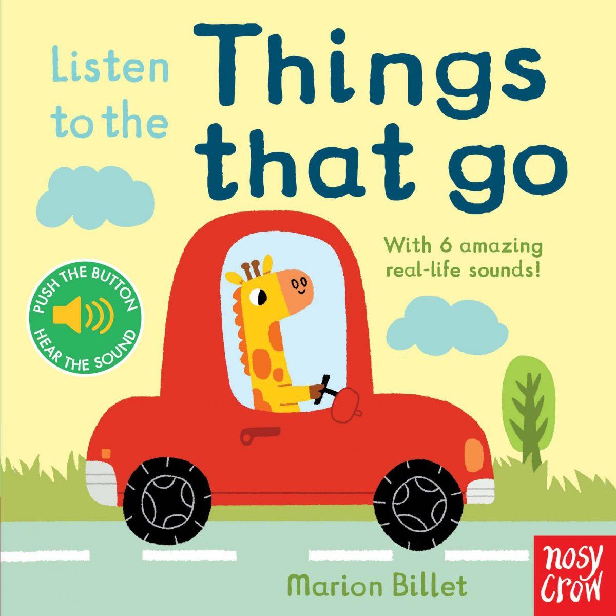 cartoon giraffe driving a red car