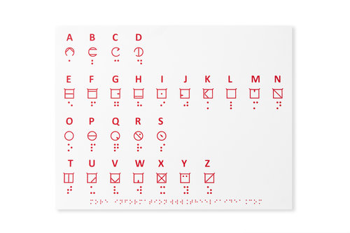 tactile alphabet showing print and ELIA Frames