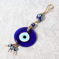 Oeil porte-bonheur Turc, verre et métal, longueur 35 cm