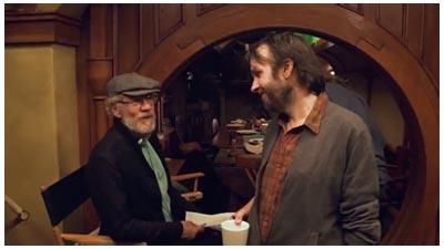 Sir Ian McKellen e Peter Jackson sul set di THE HOBBIT