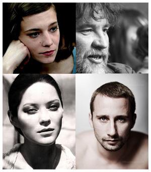 RUST AND BONE - il cast, in senso orario: Céline Sallette, Bouli Lanners, Matthias Schoenaerts e Marion Cotillard