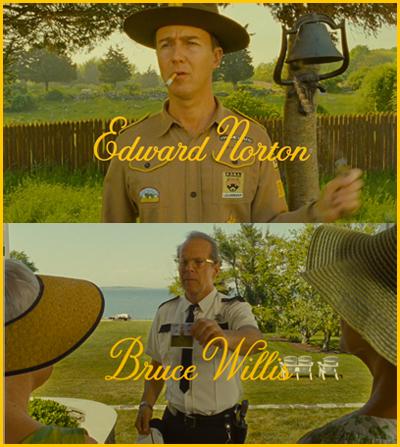 Edward Norton e Bruce Willis in Moonrise Kingdom - film di apertura Cannes 65