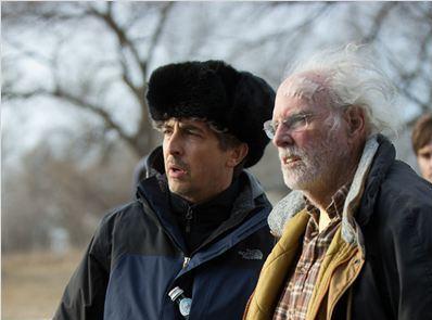 Alexanderr Payne e Bruce Dern sul set di Nebraska