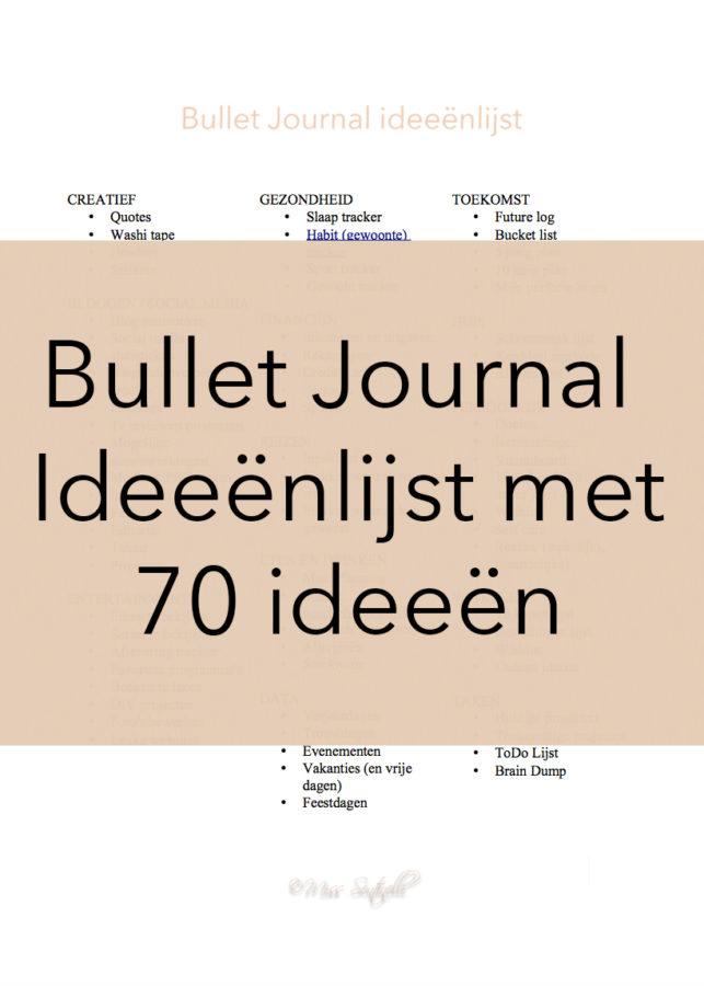Bullet Journal ideeenlijst met 70 ideeën