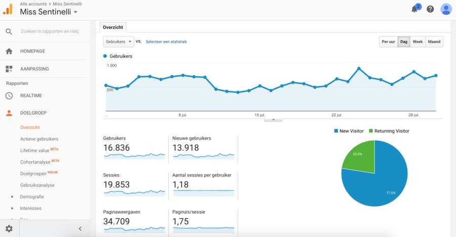 Hoe ik in juli 601,12 Euro verdiende (+ 139 Euro aan barterdeals) met bloggen en werk als Virtual Assistant - Google Analytics