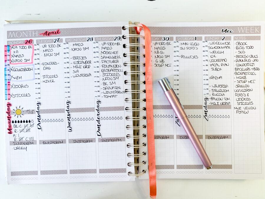 Mei planning in de JOSH V Mascha Planner