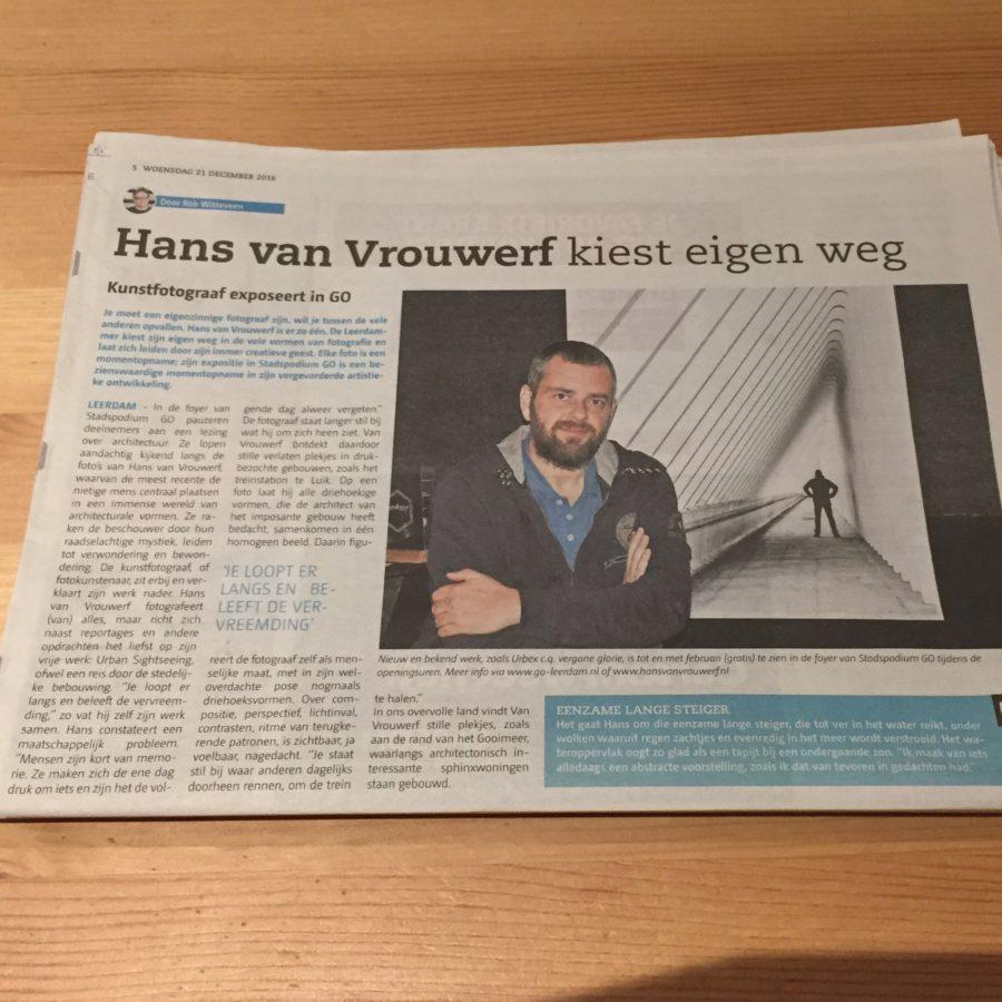 Mijn leven in foto's - Hans van Vrouwerf exposeert in Stadpodium GO