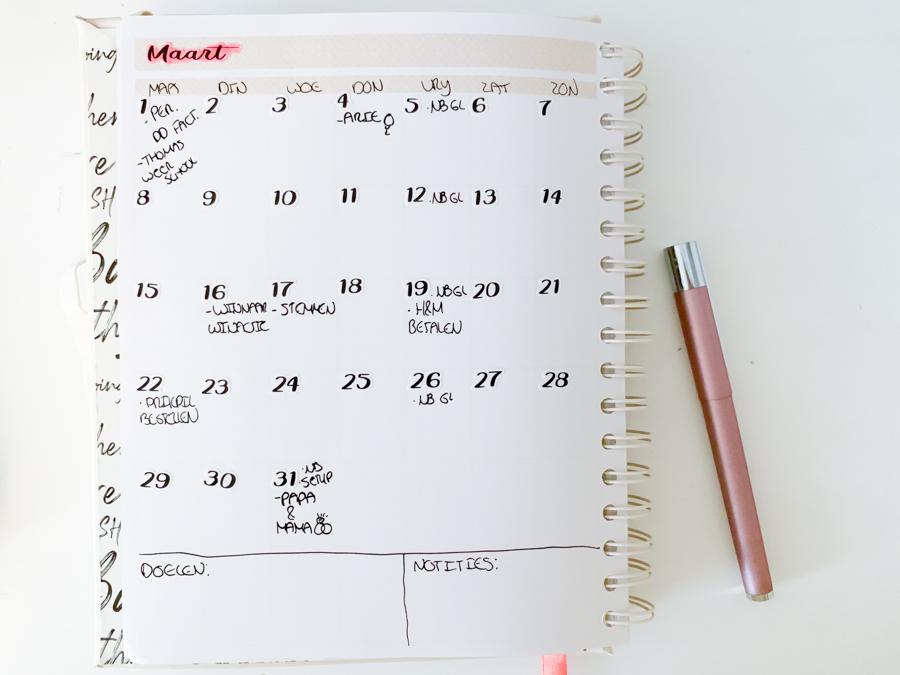 Maart planning in de JOSH V Mascha Planner - Maart