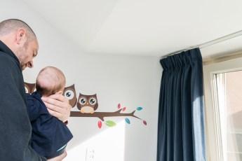 Schattige uiltjes muursticker voor de babykamer - Thomas keurt muursticker goed