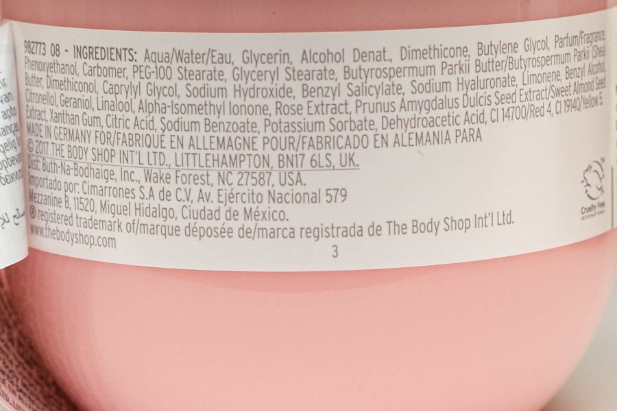 The Body Shop British Rose Body Yogurt - 100% Veganistisch - ingrediënten