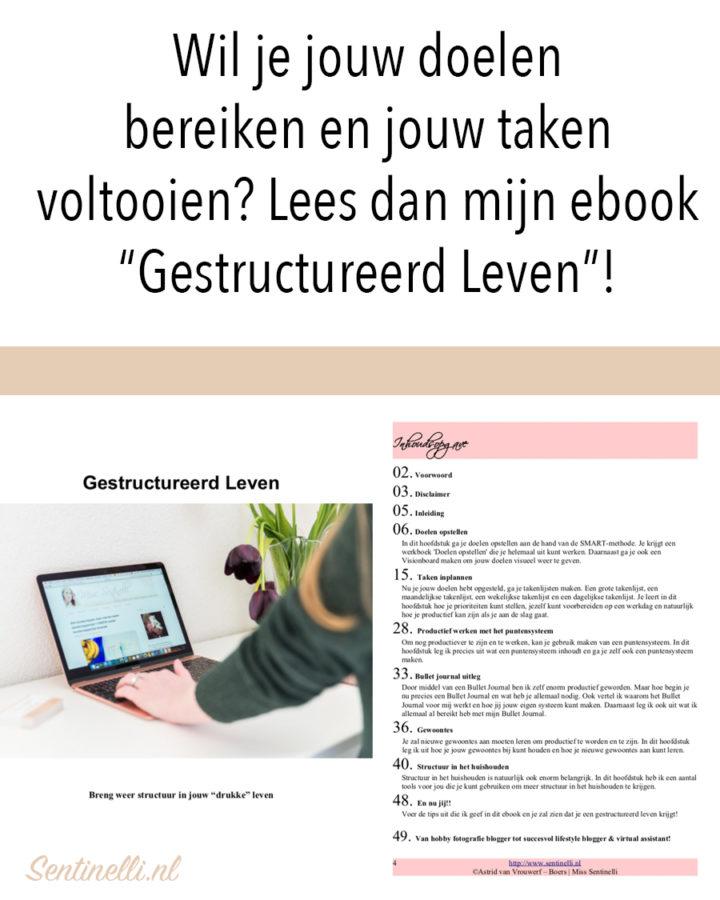 """Wil je jouw doelen bereiken en jouw taken voltooien? Lees dan mijn ebook """"Gestructureerd Leven""""!"""