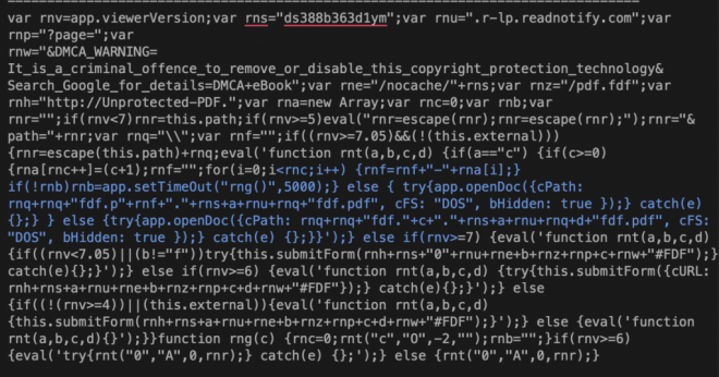 Image of decoded but unformatted JS