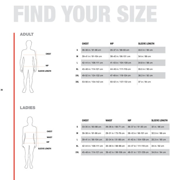 sizing charts the north face - 700×720