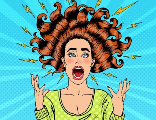 Çığlık atan öfkeli, agresif kadın. Takıntılarını Yaz.