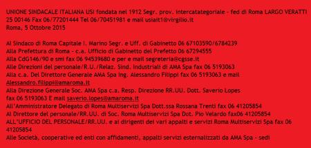 I destinatari della proclamazione dello sciopero del 19/10/15. Testo inviato da USI