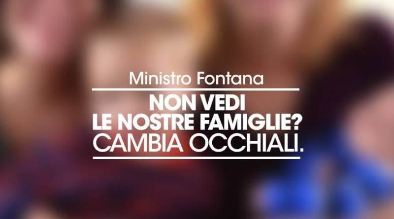 Il messaggio al neoMinistro Lorenzo Fontana alGay Village di Roma dopo le dichiarazioni sull'inesistenza delle famiglie arcobaleno.