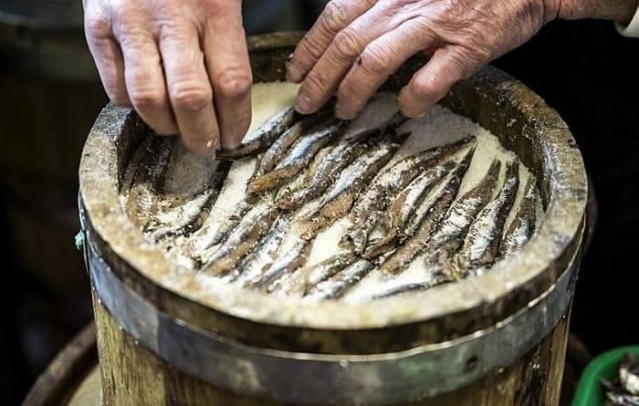 La colatura di alici è una salsa gustosissima e pregiata, di aspetto trasparente e colore ambrato, che viene prodotta nella località di Cetara.