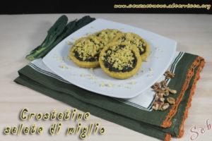 Crostatine salate di miglio on cavolo nero e noci