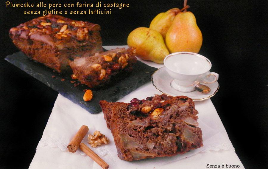 Plumcake alle pere con farina di castagne, cacao e cannella