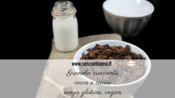 Granola croccante cocco cacao senza glutine e vegan