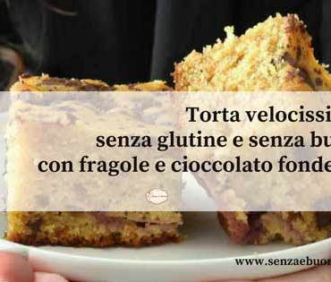 Torta veloce con cioccolato e fragole