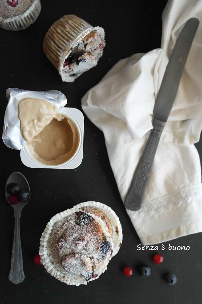 Muffin allo yogurt e frutti rossi senza glutine e lattosio