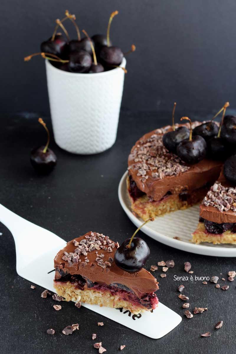 torta fredda al cioccolato vegan senza glutine senza addensanti
