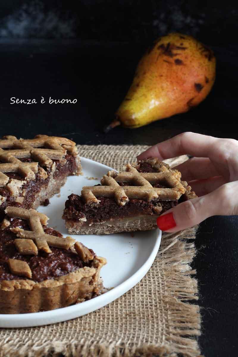 Crostata pere e cioccolato senza glutine vegan